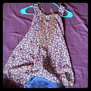 Retro! sheer floral and lace top